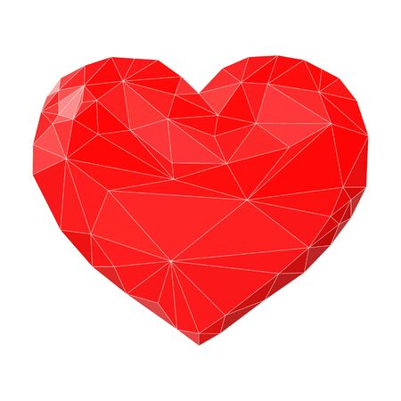 Heart art made of triangles. Vector low-poly shape, symbol of love. Isolated object for banners, print, illustrations. Foto de archivo - 126283554