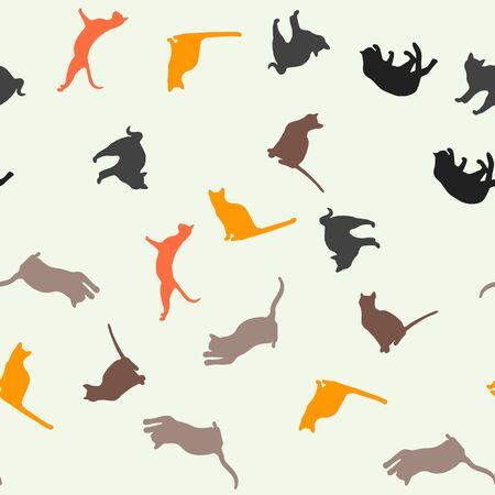 Seamless pattern with cute cats. For banner or print or illustration. Foto de archivo - 126283556