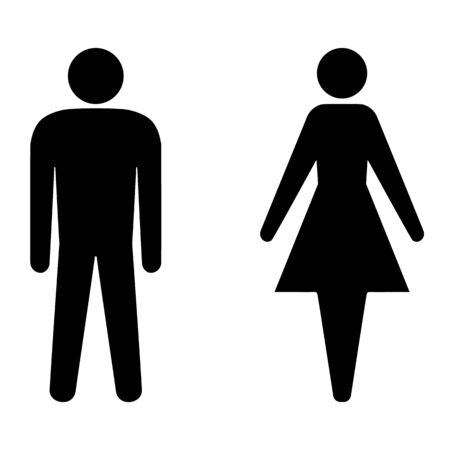 Set of man and woman icons for restroom. Vector toilet signs of ladies and gents. Male and female silhouettes for WC doors.