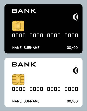 Two bank card mockups, black and white. Vector isolated. The best solution for credit card design. All proportions are observed. Foto de archivo - 126774543