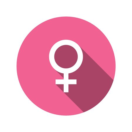 Female sign in flat design style. Round vector icon with long shadows. The perfect solution for sites with horoscopes and astrological forecasts. Gender symbol. Foto de archivo - 126774558