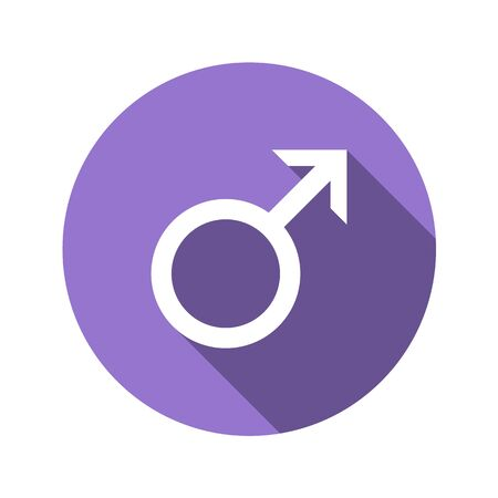Male sign in flat design style. Round vector icon with long shadows. The perfect solution for sites with horoscopes and astrological forecasts. Gender symbol. Foto de archivo - 126774559