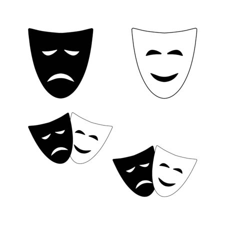 Theatrical masks of Comedy and tragedy. Black and white vector isolated symbols of the theater.