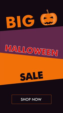 Simple Halloween sale vertical banner or flyer with pumpkin and oblique backgrounds. The best solution for seasonal promotions. Foto de archivo - 127477816