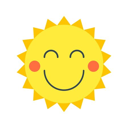 Smiling sun in cartoon style. Vector isolated object. Perfect for travel, advertising, children s websites and printed materials. Foto de archivo - 128319231