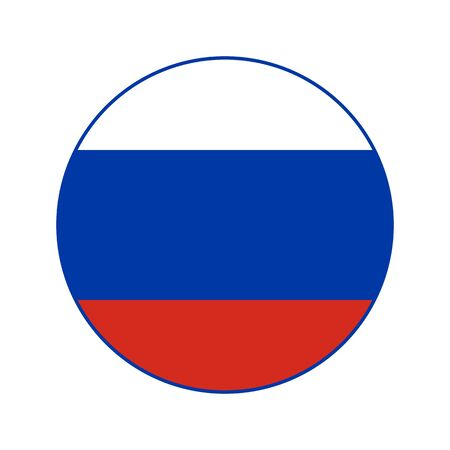 Flag of Russia. Vector isolated Russian Federation flag for banner or print or illustration. National standard. Image inscribed in a circle. Foto de archivo - 128319230