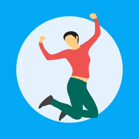 Woman jumping with happiness, winner gesture, cartoon character, flat style illustration, vector isolated. The joy of achieving the goal, happiness, love, luck, positive emotions. Foto de archivo - 128058952
