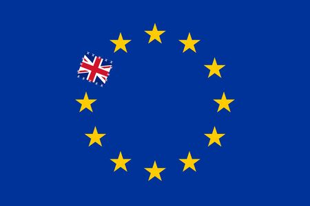 Illustration of Brexit, United Kingdom exit from the European Union. Flag of Europe with a patch in place of one star. Foto de archivo - 128319233