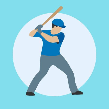 Baseball player in cartoon style. A man with a bat in one of the sports positions. Vector isolated. 일러스트