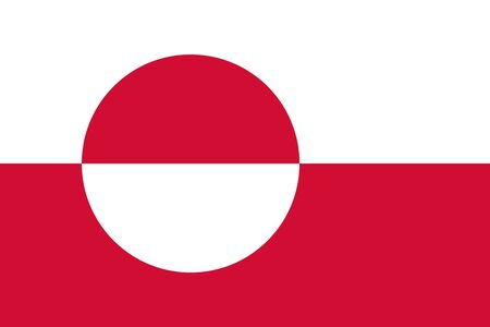 Flag of Greenland. Vector, isolated, with preservation of standard colors and proportions. Suitable for printing, websites, banners, illustrations