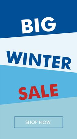 Simple winter sale vertical banner or flyer with oblique backgrounds. The best solution for seasonal promotions. Foto de archivo - 129515015