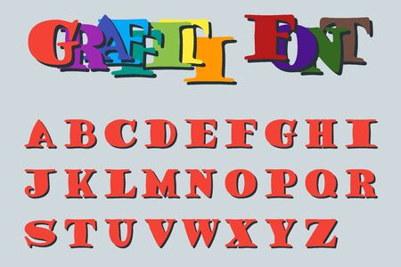 Graffiti font. Bold design letters for street art. 26 characters in uppercase. Suitable for printing and websites. English alphabet. Foto de archivo - 129515016