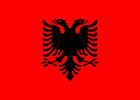Flag of Albania. Vector, isolated, with preservation of standard colors and proportions. Suitable for printing, websites, banners, illustrations Foto de archivo - 129515014