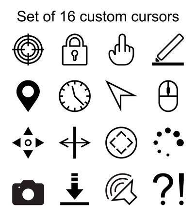 Set of 16 custom cursors. Target, lock, marker, clock, arrow, mouse, camera, question mark etc. Can be used on web pages as a replacement for standard cursor browsers. Foto de archivo - 129515019
