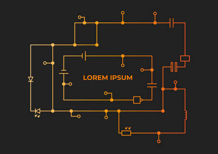 Template of a circuit drawing with inscription on a dark background