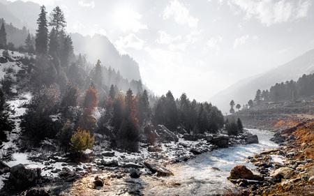 kashmir: Sonamarg, Kashmir, India View of Sonamarg With Snow. Stock Photo
