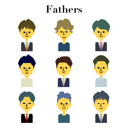 Young dad face 9 pattern illustration set