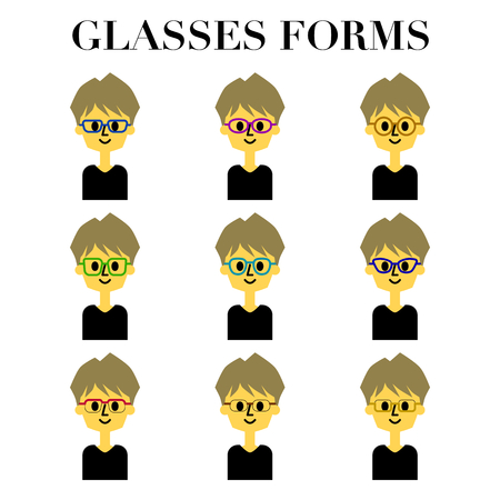 Illustration set of 9 patterns of simple and cute face look of a man with glasses medium hair