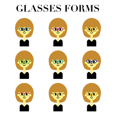 The simple and cute face look of a bob cut woman with glasses 12 pattern illustration set  イラスト・ベクター素材