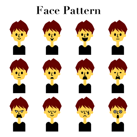 Simple and cute facial expressions 12 pattern illustration set of medium hair men