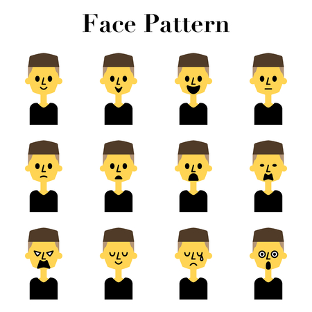Two block hair men simple and cute face facial expressions 12 pattern illustration Set