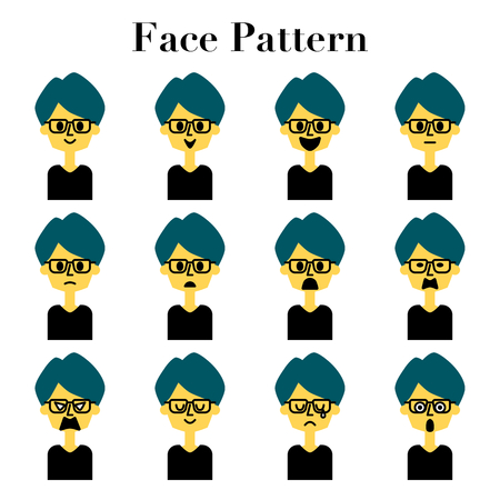 Illustration set of 12 patterns of simple and cute face look of a man of medium hair with glasses  イラスト・ベクター素材