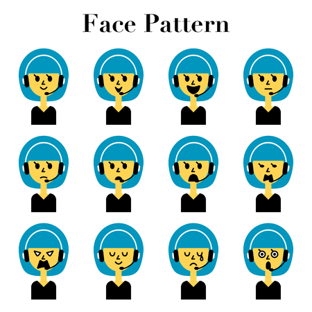 Bob cut Lady call center staff simple and cute face look 12 pattern illustration set