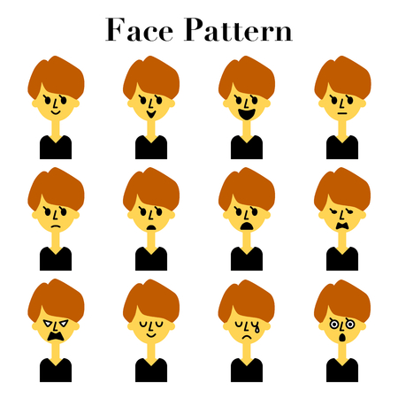 Short hair women simple and cute face facial expressions 12 pattern illustration Set  イラスト・ベクター素材