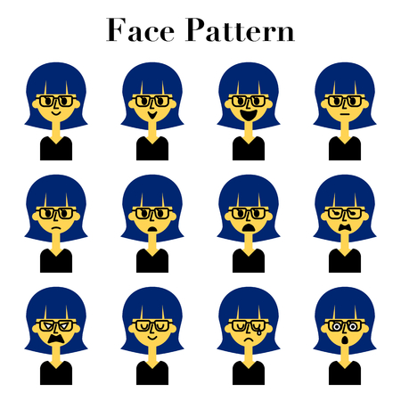 Simple and cute face facial expression 12 pattern illustration set of women with glasses short hair  イラスト・ベクター素材
