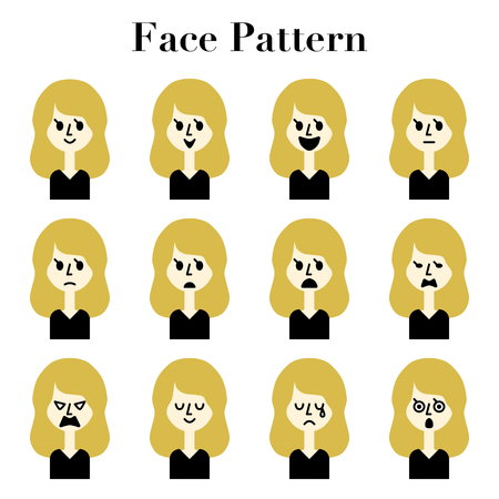 Long blonde hair woman simple and cute face look 12 pattern illustration set  イラスト・ベクター素材