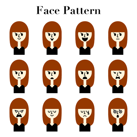 Long straight hair women simple and cute face facial expressions 12 pattern illustration Set  イラスト・ベクター素材