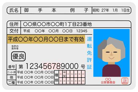 Excellent female elderly driver drivers license sample image Illustration