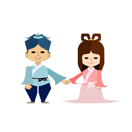 Illustration for the Tanabata event that is smiling at the hand of Orihime and hihoshi of three deformed body is holding hands