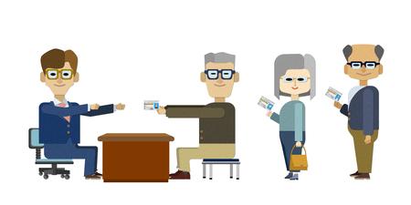Een illustratie van een scène waarin een oudere chauffeur een rijbewijs teruggeeft aan een ambtenaar in orde