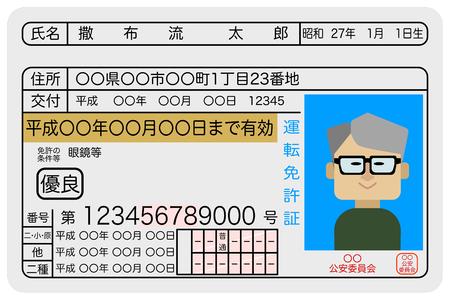 Ausgezeichnetes Beispielbild für einen Führerschein im Alter von Männern Vektorgrafik