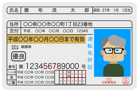 Excellent male aged driver drivers license sample image Illustration