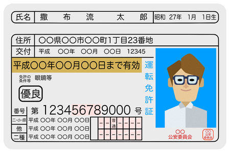 Sample image of a drivers license for excellent male drivers