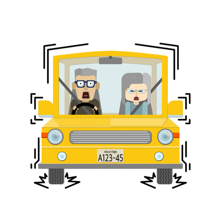 Illustration of an elderly couple riding a car with a sudden brake