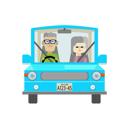Illustration of an elderly couple riding a car in a safe driving Illustration