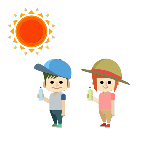 A boy and a girl wearing a hat, hydration, and heat stroke measures