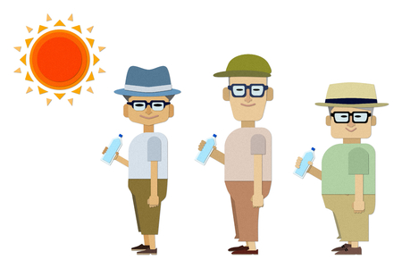 An illustration of an elderly man wearing a hat and hydration is doing heat stroke measures 向量圖像