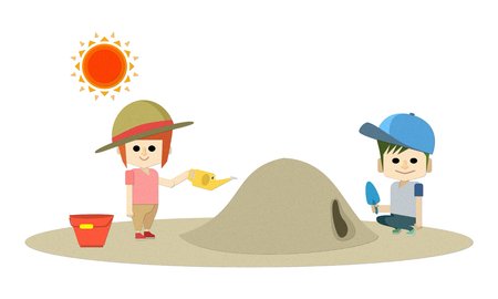 Illustration of elderly people becoming heat stroke