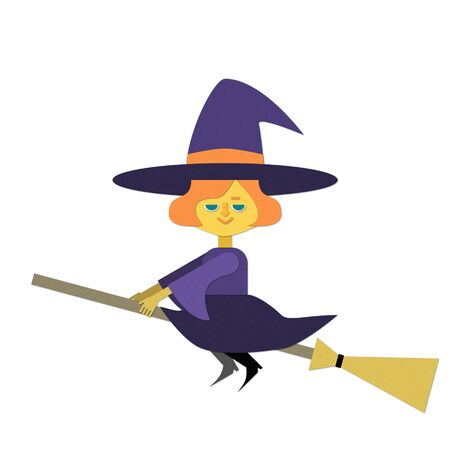 Illustration of a witch flying on a broom