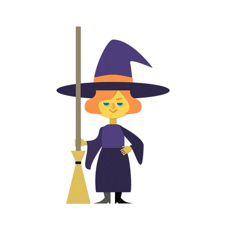Illustration of a witch standing with a broom