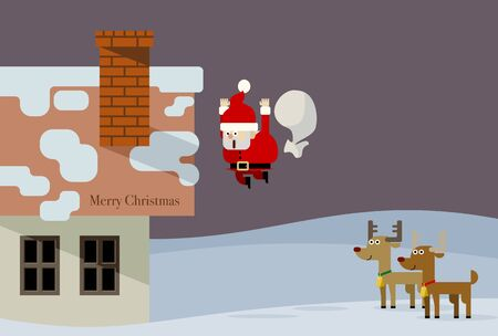 Christmas card design with reindeer watching Santa fall from the roof