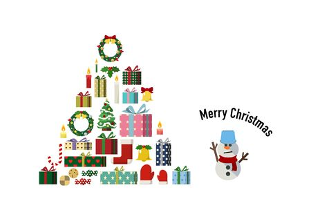Christmas card design that composes the shape of a tree with Christmas items