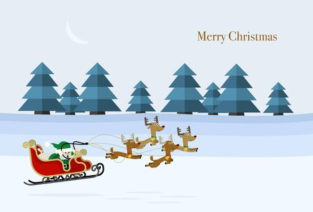 Christmas card design where Santa and reindeer fly low in the snowfield