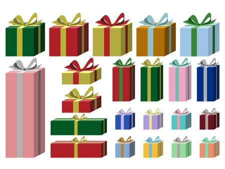 Illustration set of gift box wrapped in plain wrapping paper and ribbon