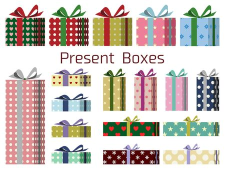 Illustration set of gift box wrapped in patterned wrapping paper and ribbon  イラスト・ベクター素材
