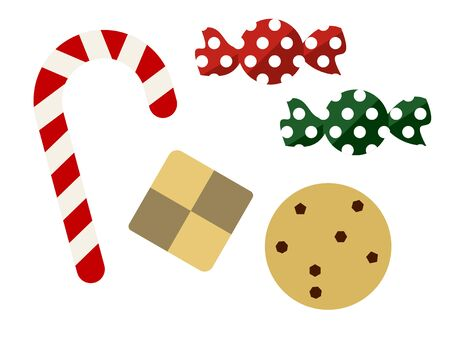 Illustration set of Christmas candy and cookies